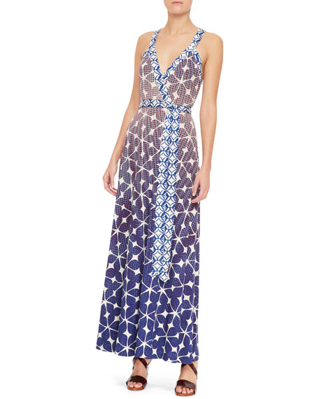 Samson Batik Print Crisscross-Back Maxi Dress, Multicolor