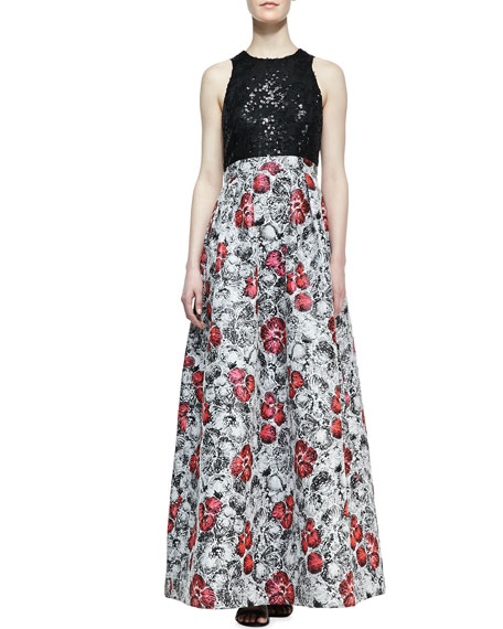 Sequin-Top Floral-Skirt Ball Gown, Multicolor