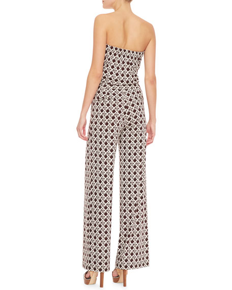 Ani Tapestry Print Strapless Jumpsuit, Caning Mocha