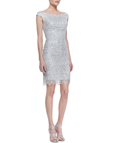 Off-Shoulder Sequined Lace Cocktail Dress, Platinum
