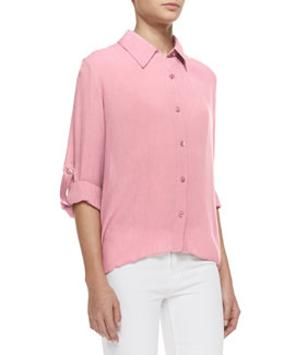 Alice + Olivia Piper Tab-Sleeve Collared Blouse