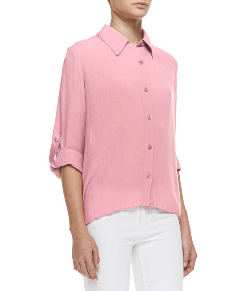 Piper Tab-Sleeve Collared Blouse