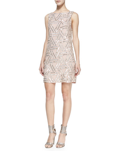 Alice + Olivia Elliotte Silk Embellished Sleeveless Dress