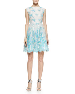 "Alice + Olivia ""Fila Party"" A-Line Lace Dress"