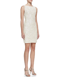 Alice + Olivia Kimber Sequined Scoop-Back Dress