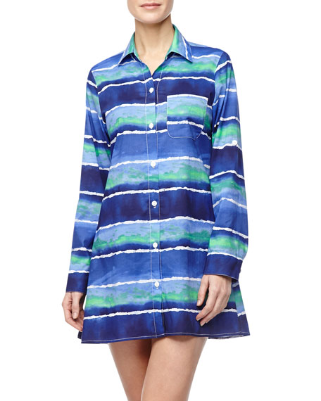 Wave-Print Boyfriend Shirt Coverup