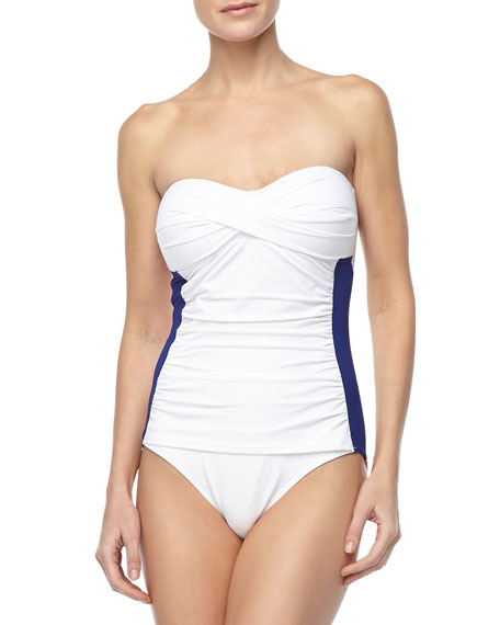 Side-Stripe Bandeau One-Piece Swimsuit