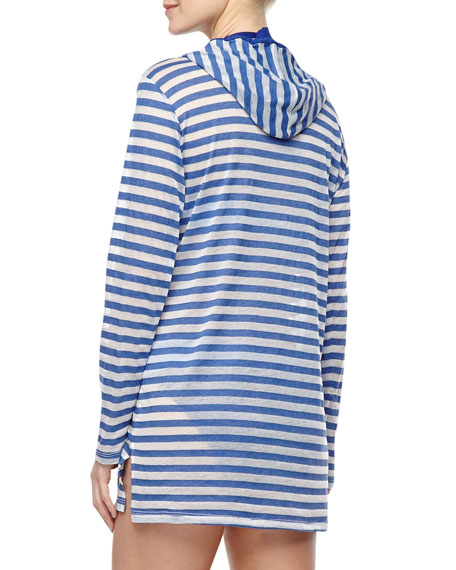 Striped Burnout Coverup Hoodie