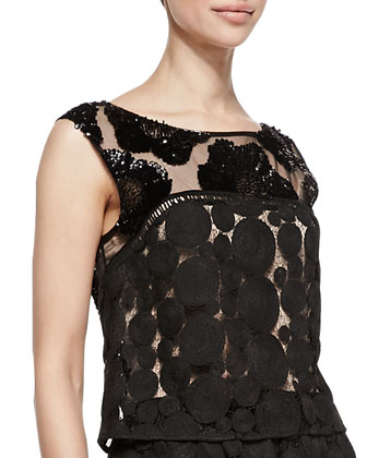 Contrast Pattern Embellished Shell, Black