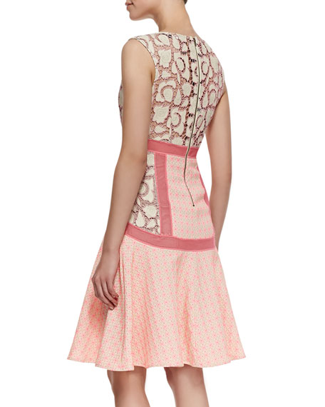 Sleeveless Flared Inset Dress, Shocking Pink
