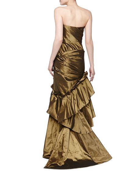 Strapless Asymmetric Taffeta Gown, Burnished Gold
