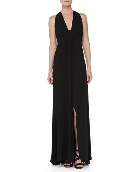 Low-Cut Sleeveless Jersey Gown, Black