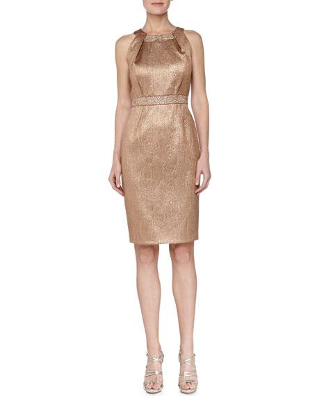 Paisley Jacquard Beaded Cocktail Dress, Bronze