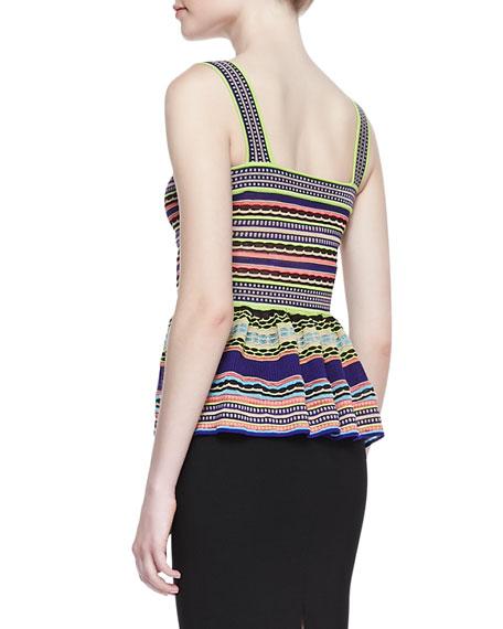 Ribbon-Stripe Knit Peplum Top