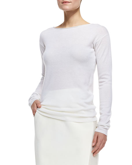 Drop-Shoulder Long-Sleeve Cashmere Sweater