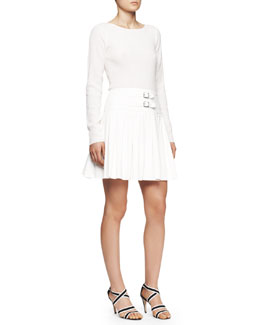 Tamara Mellon Long-Sleeve Dress with Wool Knit Top and Suede Skirt, Creme