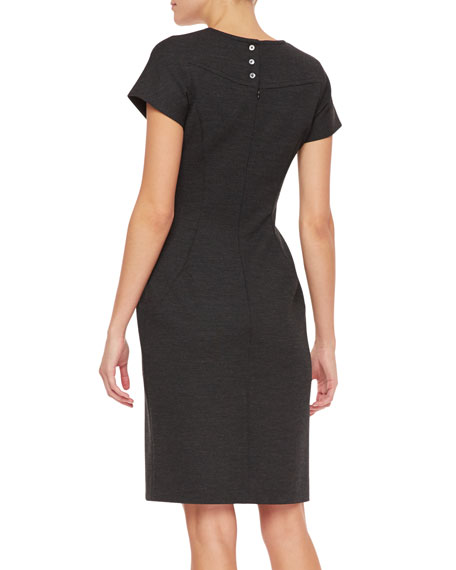 Short-Sleeve Wool Ponte Dress, Charcoal