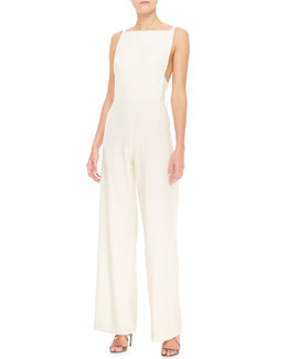 Tamara Mellon Sleeveless Wide-Leg Jumpsuit with Low Back, Creme