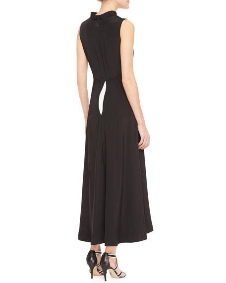 Two-Tone Voluminous Wide-Leg Jumpsuit, Black/Cream