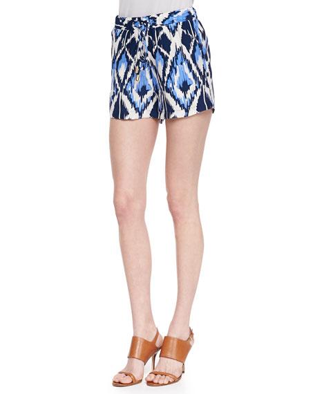 Jude Ikat-Print Silk Shorts