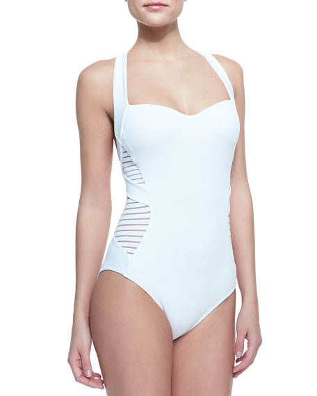 Infinity Sheer-Stripe One-Piece Swimsuit
