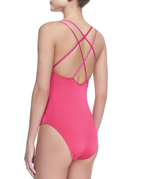 Two-Tone Double-Strap One-Piece Swimsuit