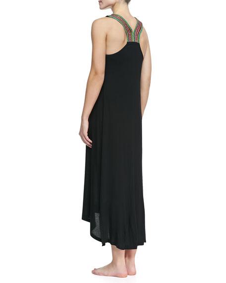 Sleeveless Bead-Neck Coverup Maxi Dress