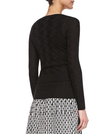 Cropped Zigzag Knit Cardigan, Black