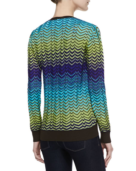 Zigzag Button-Front Cardigan, Turquoise