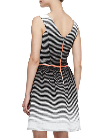 Ombré Tennis-Stripe Belted Party Dress