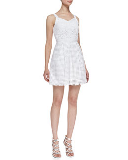 Yoana Baraschi Blue Daytona Sleeveless Grid Frock, Crystal White