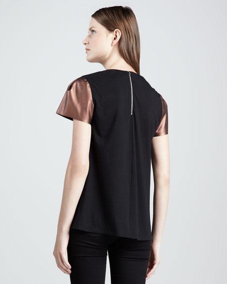 Ilana Faux-Leather-Sleeve Top