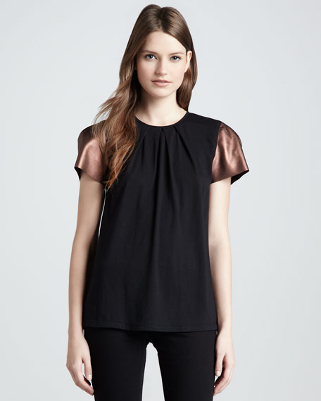 Ilana Faux-Leather-Sleeve Top