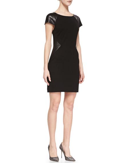 Eliana Sheath Dress with Leatherette Panels