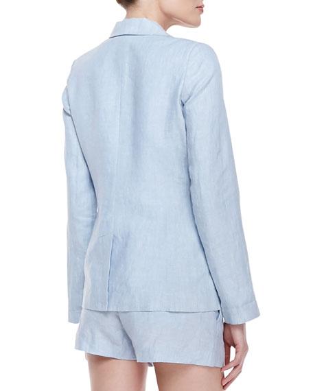 Mehira B Linen One-Button Blazer, Chambray