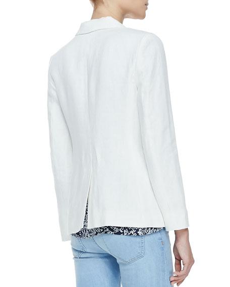 Mehira Linen Notch-Collar Blazer, White