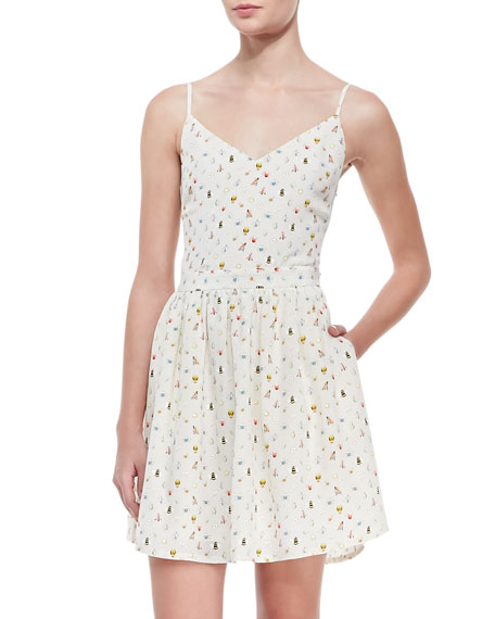 Hudette Silk Bug-Print Sleeveless Dress