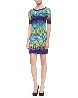 M. Missoni Short Sleeve Intarsia Knit Sweater Dress, Turquoise/Multicolor