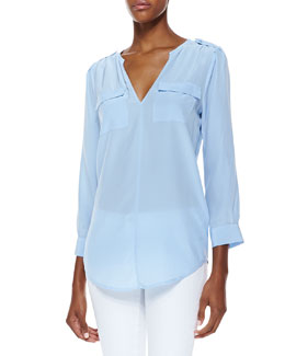 Joie Marlo Pocket V-Neck Blouse