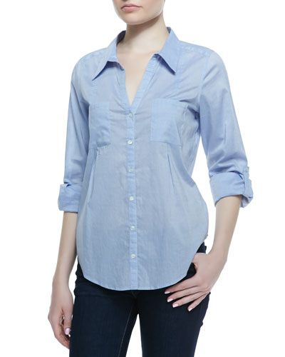 Joie Cartel Chambray Long-Sleeve Blouse