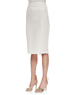 Joie Tylie Silk Eyelet-Lace Pencil Skirt