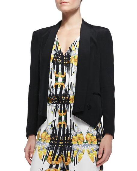 Becky Long-Sleeve Peaked-Hem Jacket, Black