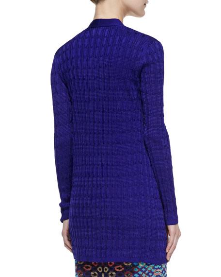 Open-Front Knit Cardigan, Purple