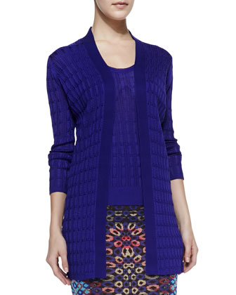 Open-Front Knit Cardigan, Purple