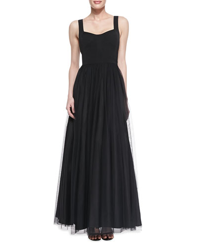 Aidan Mattox Sleeveless Sweetheart Tulle Ball Gown, Black
