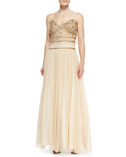 Aidan Mattox Spaghetti Strap Beaded Bodice Gown, Antique Gold