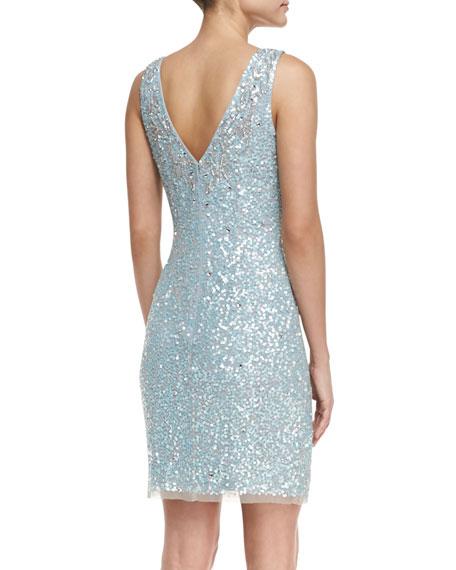 Sleeveless Beaded & Sequined Cocktail Dress, Light Blue