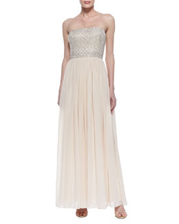 Aidan Mattox Strapless Beaded-Bodice Gown, Blush