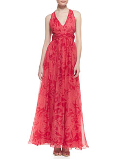 Aidan Mattox Printed Chiffon Sleeveless V-Neck Gown