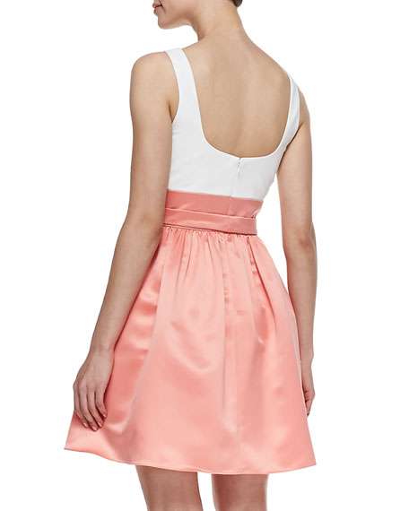 Sleeveless Combo Bow-Tie Belt Cocktail Dress, Ivory/Apricot
